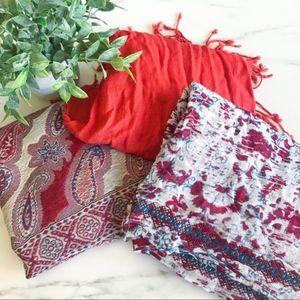 3 Scarves! Red + Infinity Scarf + Paisley Print